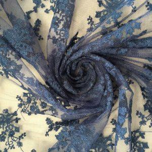 Tissu dentelle fleurs – Bleu