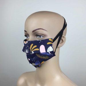 Masque Nuit Fleurie. 3 couches coton
