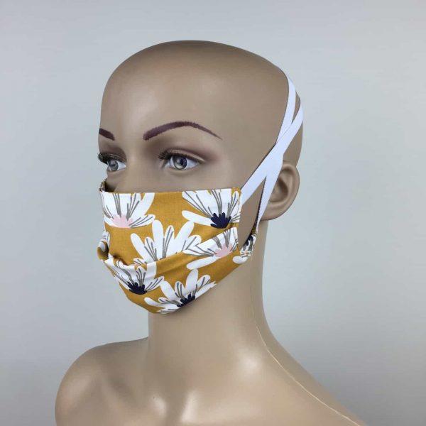 masque coton 3 couches moutarde