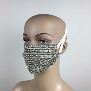 Masque blanc/vert. 2 couches polyester. Séchage rapide