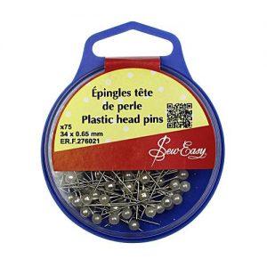 Épingles tête de perle 34×0.65 mm – x75