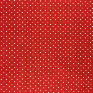 Tissu coton rouge avec des points blanc