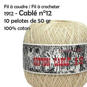 Fil à coudre / fil à crocheter 10 pelotes cablé n° 12 - 50 gr -Ispe 100% coton