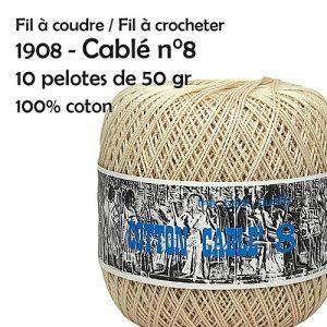 Fil à coudre / fil à crocheter 10 pelotes cablé n°8 - 50 gr - Ispe 100% coton