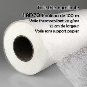 Voile thermocollante sans support papier, larg 75 cm