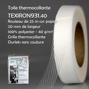 Rouleau 25 m thermocollante ourlets 20 mm 100% pol