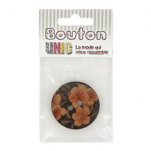 Carte 1 bouton coco 2 tr fleur  Ø 40 mm – E