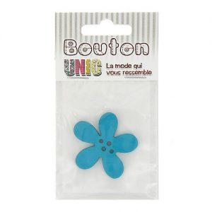 Carte 1 bouton fleur  turquoise Ø 40 mm – D
