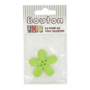 Carte 1 bouton fleur  vert Ø 40 mm – D