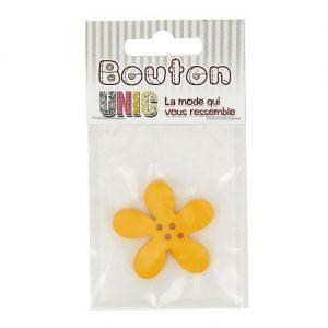 Carte 1 bouton fleur  jaune Ø 40 mm – D