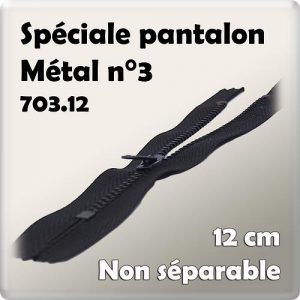 Fermeture pantalon n°3-12 cm- code prix I