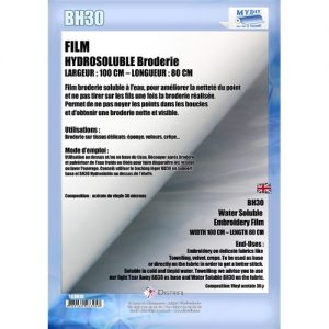 Film Hydrosoluble Broderie L 80cm l 100cm