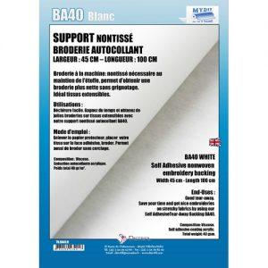 Support Non Tissé brod Autocol L100cm l 45cm Blanc