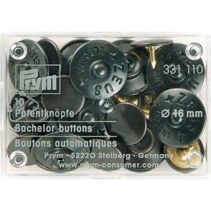 Boite 10 Boutons automatiques Zeus laiton 16 mm no