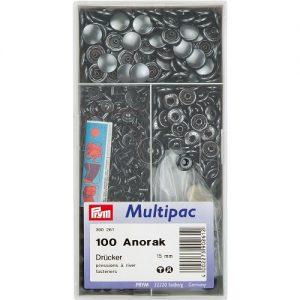 Boite 100 Boutons press. Anorak laiton 15 mm bruni