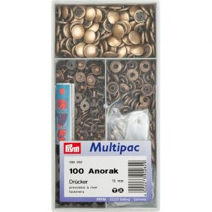 Boite 100 Boutons press. Anorak laiton 15 mm laito