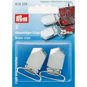 Carte 2 Clips pour bretelles à coudre 25 mm argent
