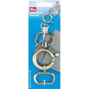 Boucle de ceinture à clip 35×105 mm laiton antiq