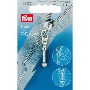 Tirette Fashion-Zipper Tige-boule argent