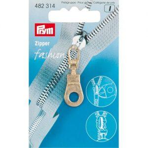 Tirette Fashion-Zipper Oeillet or