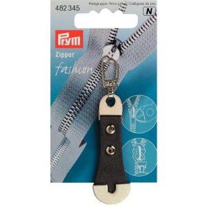 Tirette fashion – zipper cuir métal gris