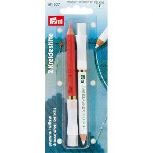 Carte 2 Crayons craie avec brosse à effacer, 11 cm