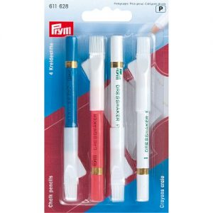 Carte 4 Crayons craie avec brosse à effacer, 11 cm