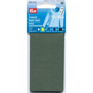 Piece  thermocollante serge coton  olive 12*45 cm