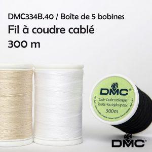 5 bobines 300 m fil à coudre cablé