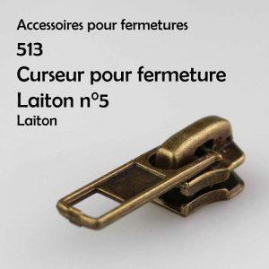 513 Curseur pour fermeture laiton n°5