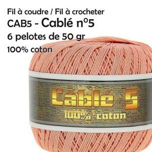 6 Pelotes 50 gr cablé n°5 - 100% coton