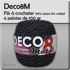 Fil à crocheter 6 pelotes 100 gr - 95% coton 5% métal à crocheter
