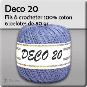 6 pelotes 50 gr - 100% coton à crocheter DECO 20