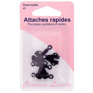 Attaches rapides noires pour pantalons-jupes-veste