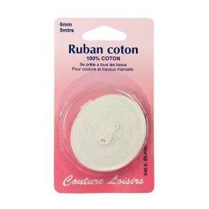 Ruban de coton blanc 6 mm long; 5 m