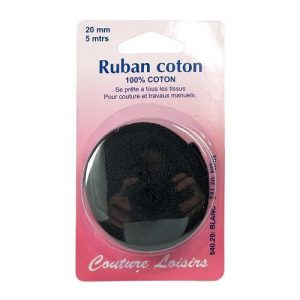 Ruban de coton noir 20 mm long. 5 m