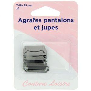 Agrafes 25 mm Pantalons -jupes – col.noir x3