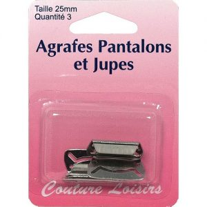 Agrafes 25 mm Pantalons -jupes – col. nickel x3
