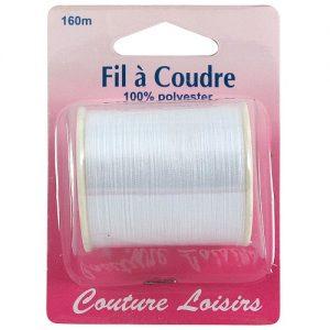 bobine fil polyester 160 m Blanc