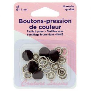Boutons pression 11 mm col. Noir x6
