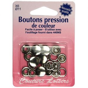 Boutons pression 11 mm col. Argent x6
