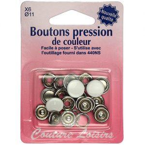 Boutons pression 11 mm col. Blanc x6