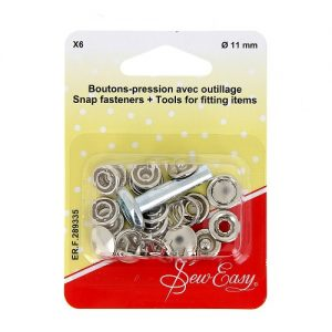 Boutons-pression X6 Ø – argent -11 mm+ outillage