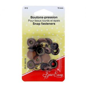 Boutons-pression  X12 – bronze -15 mm