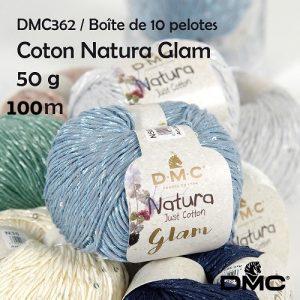 Boite 10 pelotes 50 g coton natura glam 100 m