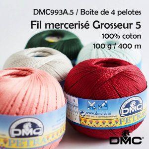 Boîte 4 pelotes Petra 100 g / 400m Fil mercerisé grosseur 5