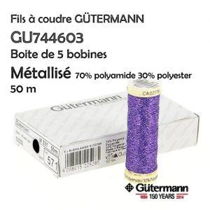 Boite 5 bobines 50 m fil métallisé Gutermann