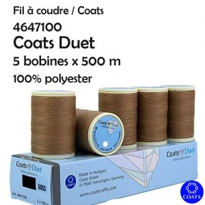 Boîte 5 bobines Coats Duet 500 m