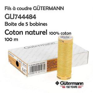 Boite 5 bobines Coton naturel 100m 100% Coton merc