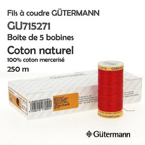Boite 5 bobines Coton naturel 250m 100% Coton merc